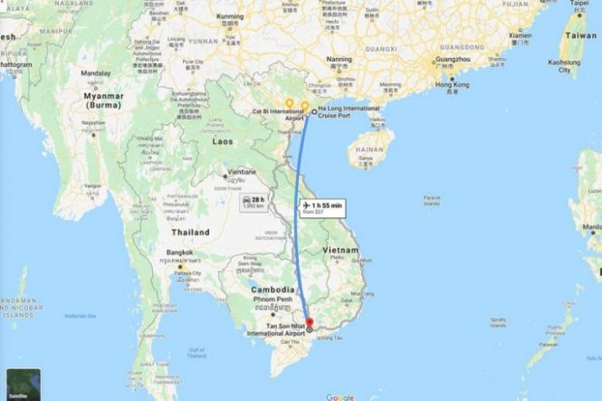 Distance Ho Chi Minh to Halong
