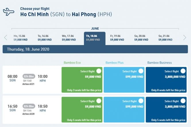 Flights from Ho Chi Minh to Hai Phong by Vietnam airlines