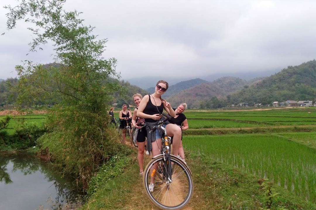 Ride bicycle in Tam Coc
