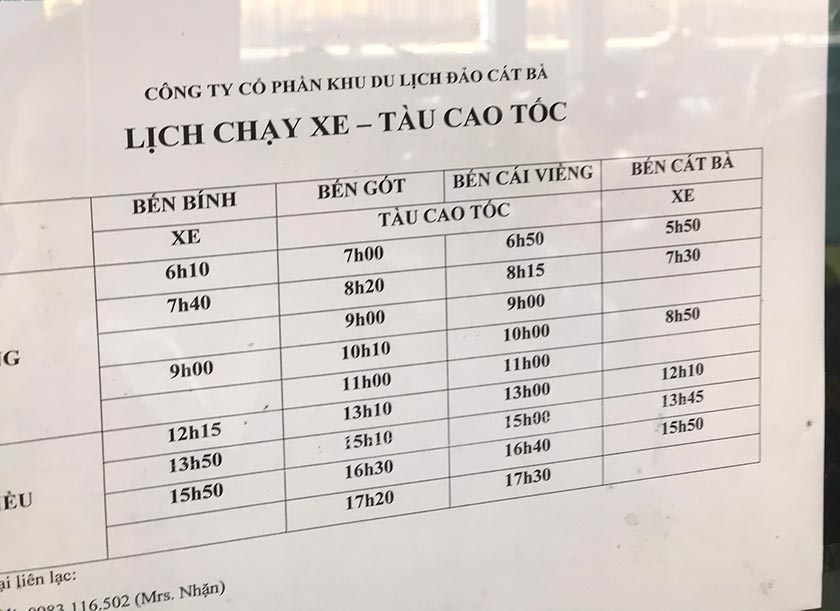 Bus schedule from Hai Phong to Cat Ba