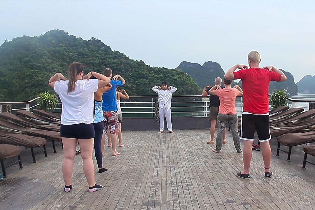 Taichi exercise on Lan Ha bay - Hai Phong Lan Ha bay 2 days
