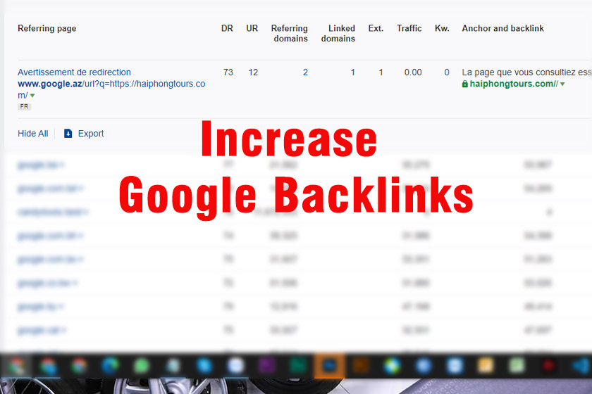 Increase Google Backlinks for travel website